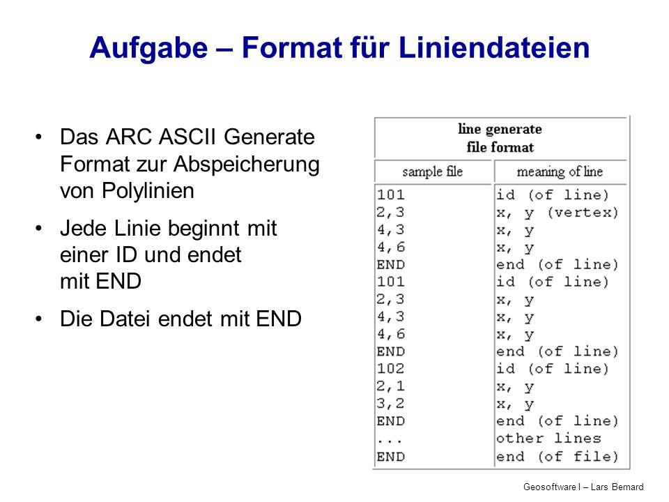 Geosoftware I – Lars Bernard Aufgabe – Format für Liniendateien Das ARC ASCII Generate Format zur Abspeicherung von Polylinien Jede Linie beginnt mit einer ID und endet mit END Die Datei endet mit END