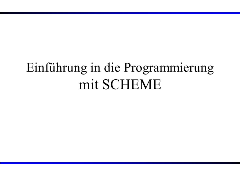 2 Übersicht: 1.Informatikunterricht an Schulen 2.Unterrichtssequenzentwurf: Einführung in die Programmierung mit SCHEME 3.Verlaufsplan einer Unterrichtsstunde aus der Sequenz 4.Fazit