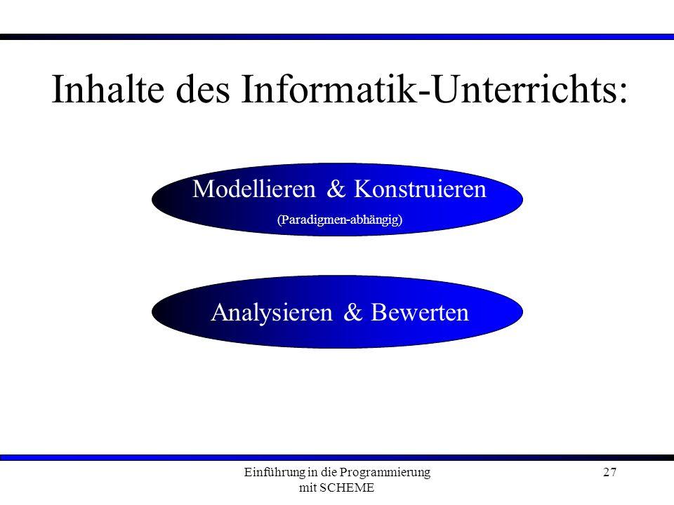 Einführung in die Programmierung mit SCHEME 27 Inhalte des Informatik-Unterrichts: Modellieren & Konstruieren (Paradigmen-abhängig) Analysieren & Bewerten