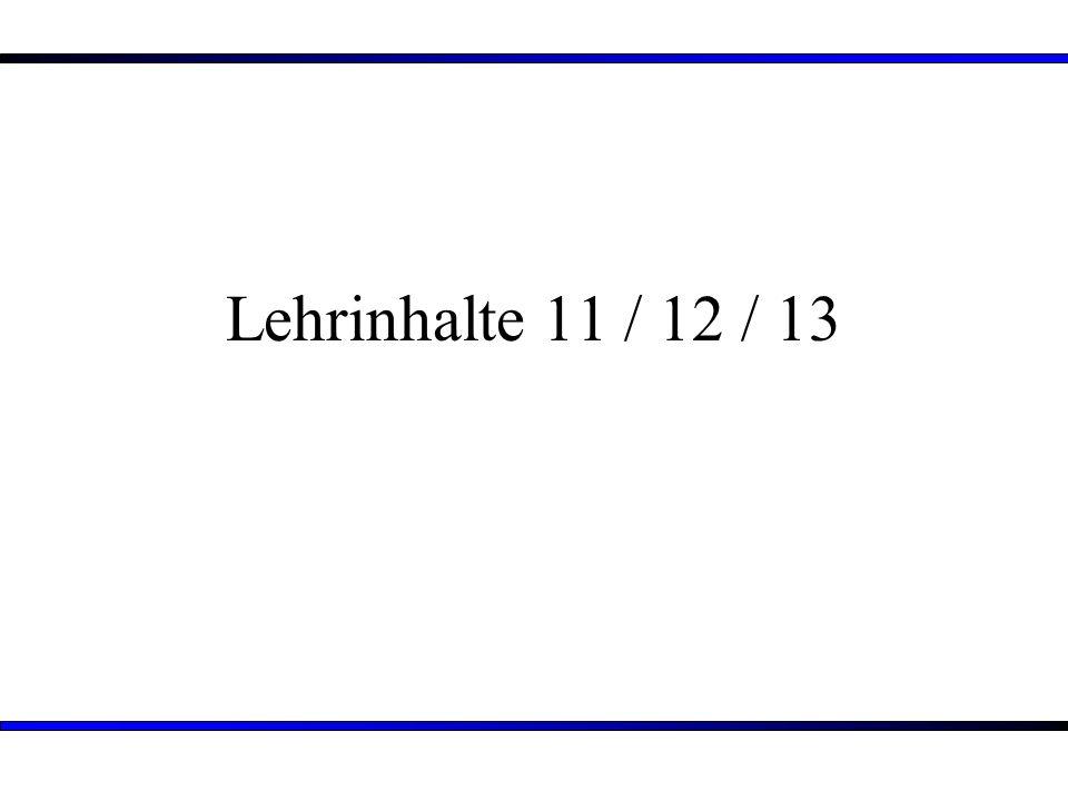 Lehrinhalte 11 / 12 / 13