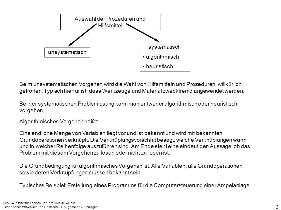 6 Auswahl der Prozeduren und Hilfsmittel unsystematisch systematisch algorithmisch heuristisch Beim unsystematischen Vorgehen wird die Wahl von Hilfsm