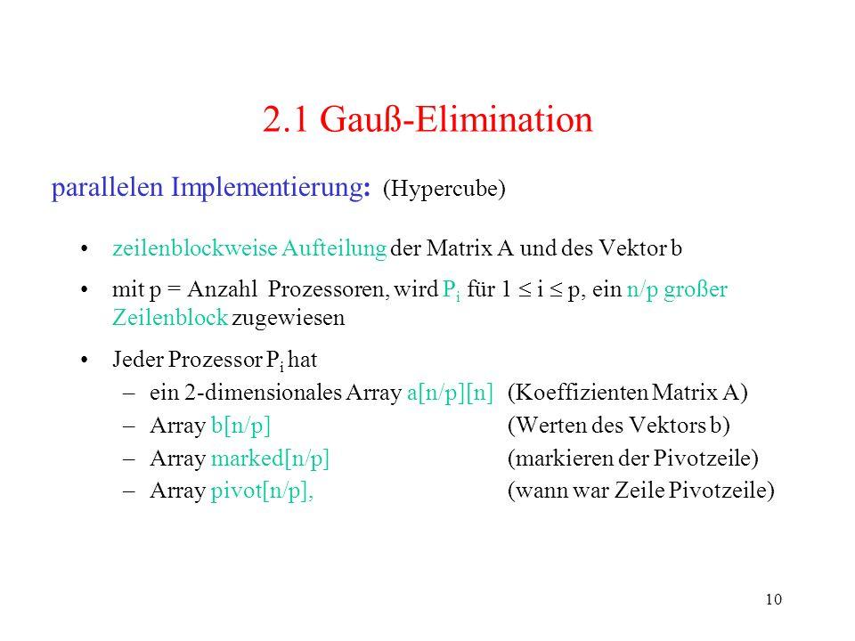 10 2.1 Gauß-Elimination zeilenblockweise Aufteilung der Matrix A und des Vektor b mit p = Anzahl Prozessoren, wird P i für 1 i p, ein n/p großer Zeile