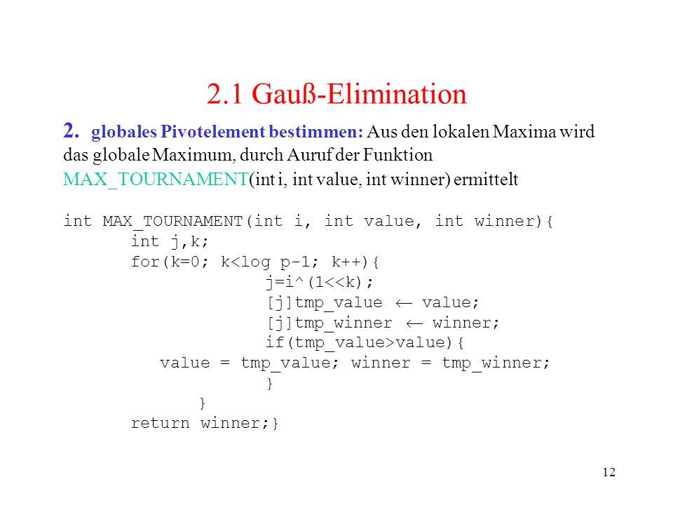 12 2. globales Pivotelement bestimmen: Aus den lokalen Maxima wird das globale Maximum, durch Auruf der Funktion MAX_TOURNAMENT(int i, int value, int