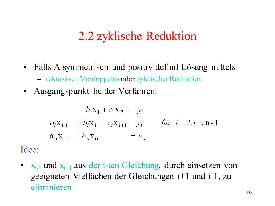 19 2.2 zyklische Reduktion Falls A symmetrisch und positiv definit Lösung mittels –rekursiven Verdoppelns oder zyklischer Reduktion Ausgangspunkt beid