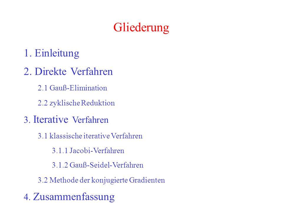2 Gliederung 1. Einleitung 2. Direkte Verfahren 2.1 Gauß-Elimination 2.2 zyklische Reduktion 3. Iterative Verfahren 3.2 Methode der konjugierte Gradie