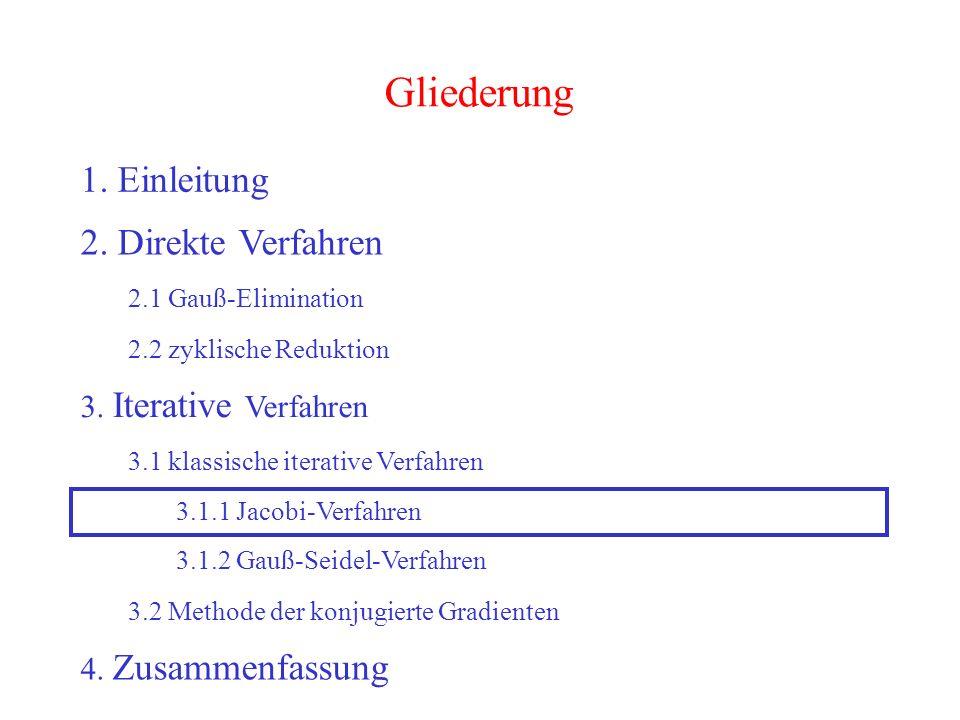 28 Gliederung 1. Einleitung 2. Direkte Verfahren 2.1 Gauß-Elimination 2.2 zyklische Reduktion 3. Iterative Verfahren 3.2 Methode der konjugierte Gradi