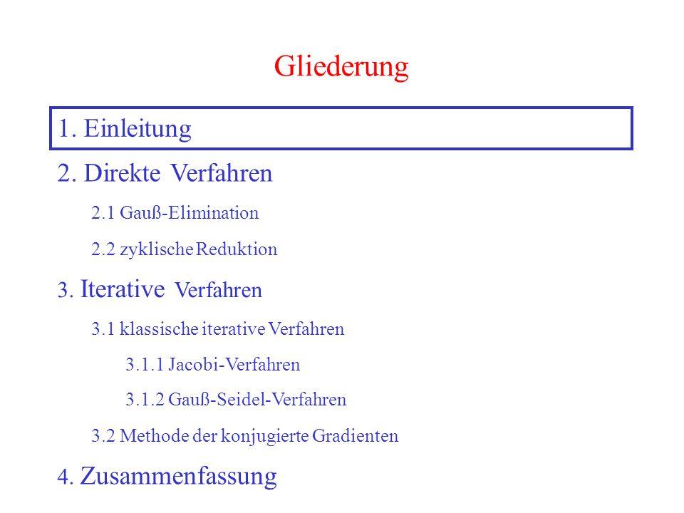 3 Gliederung 1. Einleitung 2. Direkte Verfahren 2.1 Gauß-Elimination 2.2 zyklische Reduktion 3. Iterative Verfahren 3.2 Methode der konjugierte Gradie