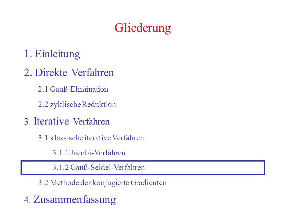 33 Gliederung 1. Einleitung 2. Direkte Verfahren 2.1 Gauß-Elimination 2.2 zyklische Reduktion 3. Iterative Verfahren 3.2 Methode der konjugierte Gradi