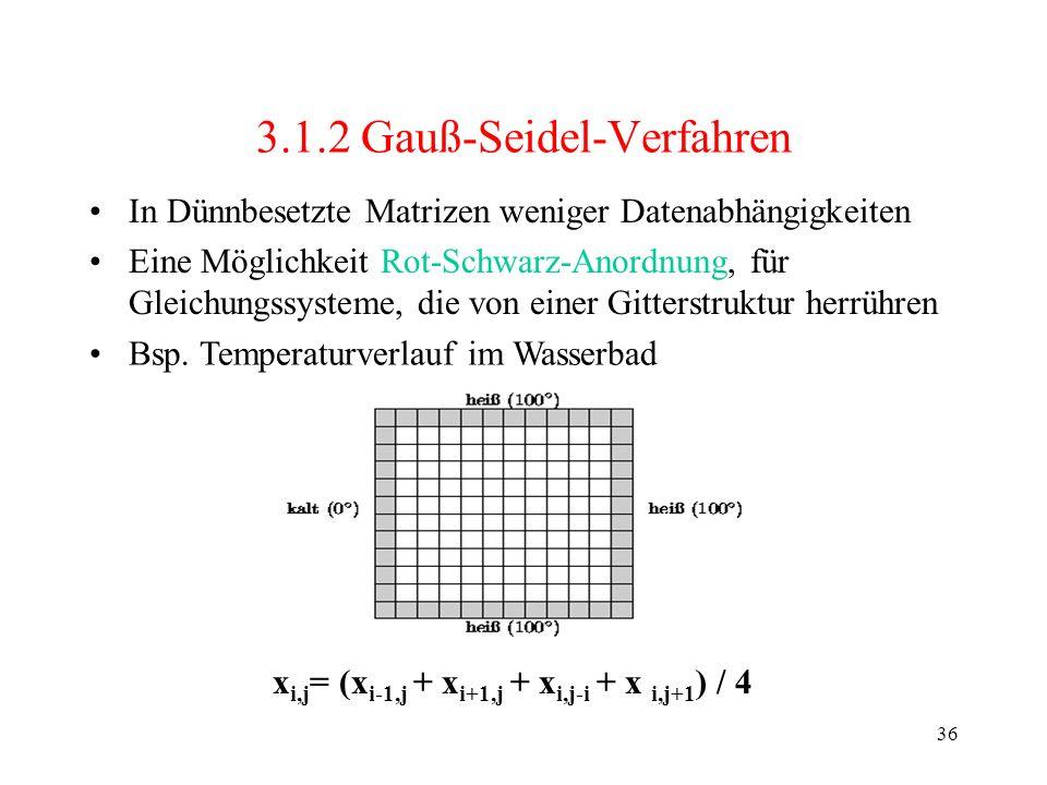 36 3.1.2 Gauß-Seidel-Verfahren In Dünnbesetzte Matrizen weniger Datenabhängigkeiten Eine Möglichkeit Rot-Schwarz-Anordnung, für Gleichungssysteme, die