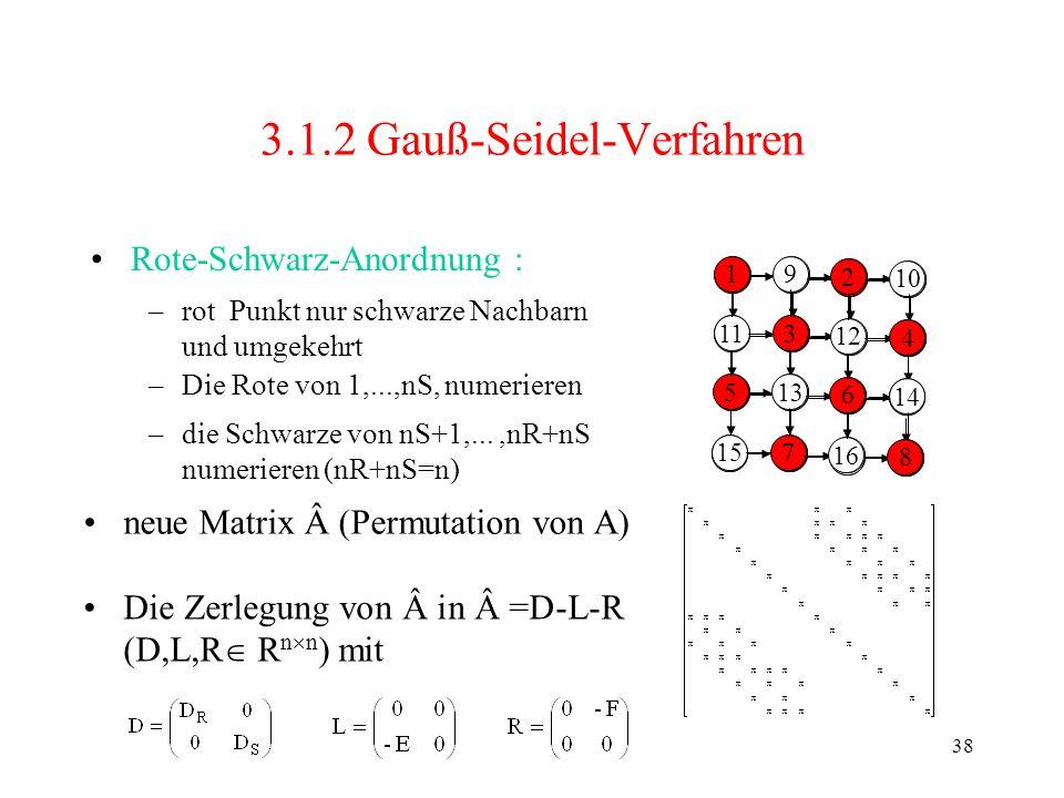 38 1 5 9 2 6 10 1314 3 7 11 15 4 8 12 16 3.1.2 Gauß-Seidel-Verfahren Rote-Schwarz-Anordnung : 1 5 3 7 2 6 4 8 1 11 5 9 3 13 157 2 12 6 16 10 4 14 8 –r