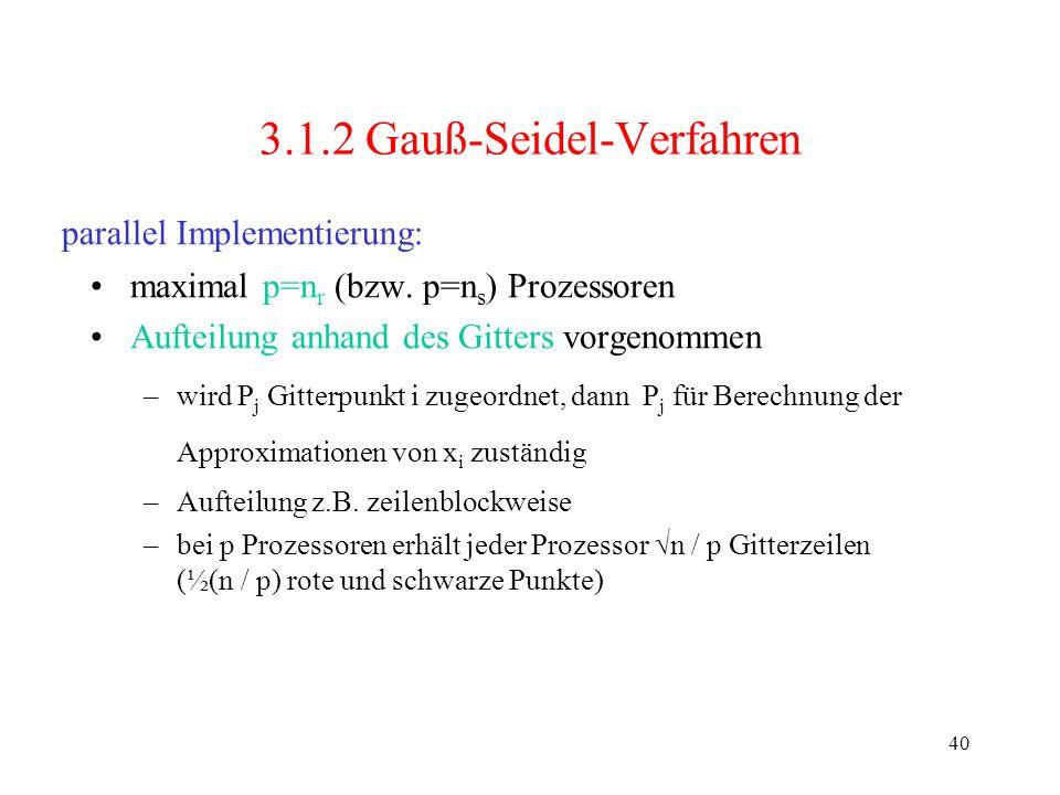 40 3.1.2 Gauß-Seidel-Verfahren maximal p=n r (bzw. p=n s ) Prozessoren Aufteilung anhand des Gitters vorgenommen –wird P j Gitterpunkt i zugeordnet, d