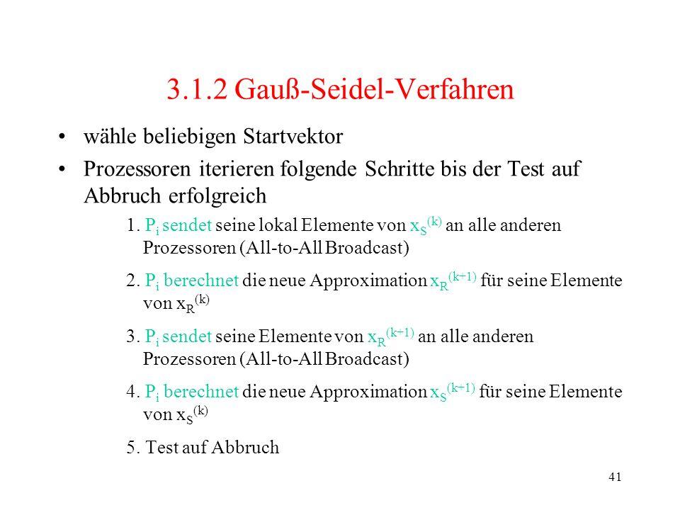 41 3.1.2 Gauß-Seidel-Verfahren wähle beliebigen Startvektor Prozessoren iterieren folgende Schritte bis der Test auf Abbruch erfolgreich 1. P i sendet