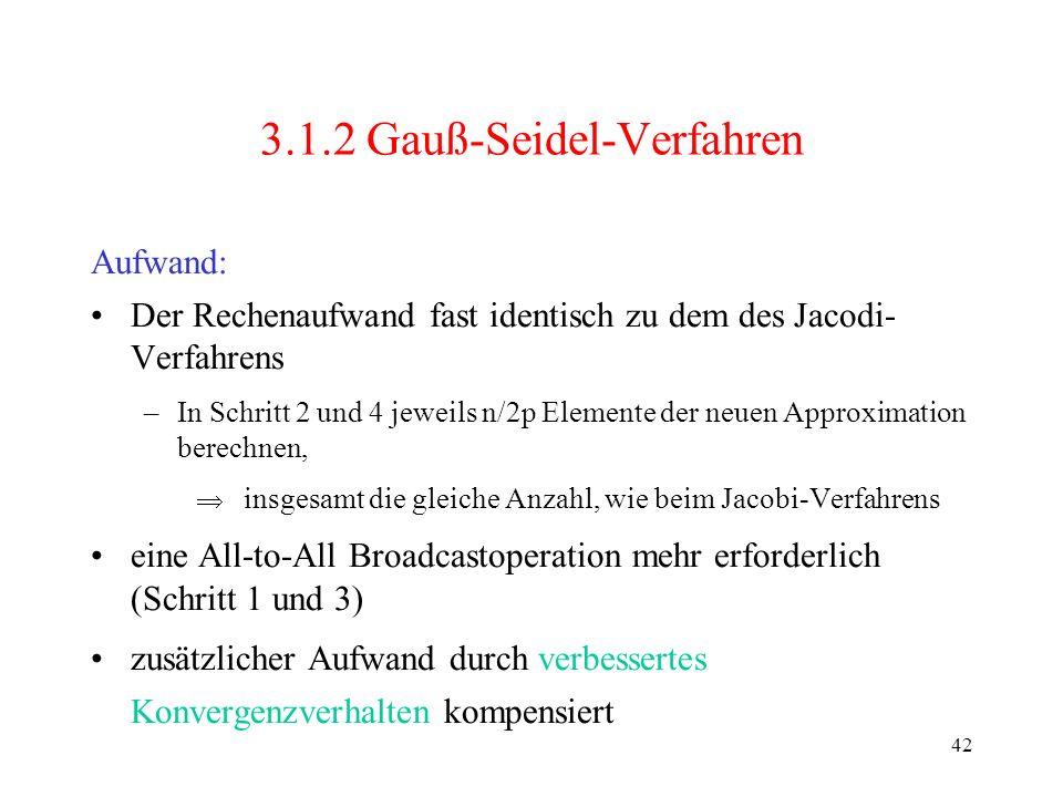 42 3.1.2 Gauß-Seidel-Verfahren Der Rechenaufwand fast identisch zu dem des Jacodi- Verfahrens –In Schritt 2 und 4 jeweils n/2p Elemente der neuen Appr