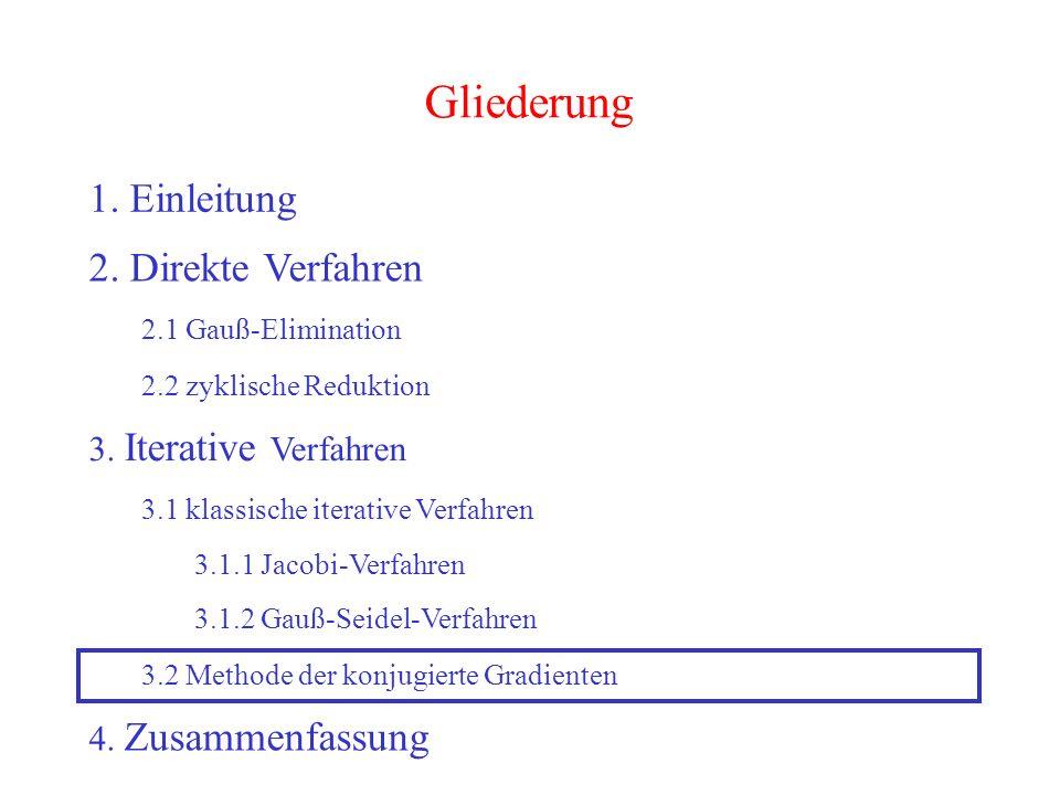 43 Gliederung 1. Einleitung 2. Direkte Verfahren 2.1 Gauß-Elimination 2.2 zyklische Reduktion 3. Iterative Verfahren 3.2 Methode der konjugierte Gradi