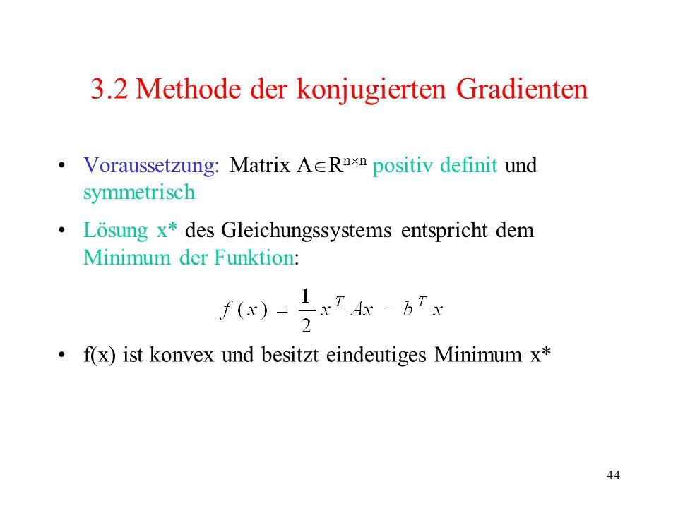 44 3.2 Methode der konjugierten Gradienten Voraussetzung: Matrix A R n n positiv definit und symmetrisch Lösung x* des Gleichungssystems entspricht de