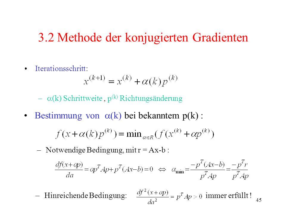 45 3.2 Methode der konjugierten Gradienten Iterationsschritt: – (k) Schrittweite, p (k) Richtungsänderung –Notwendige Bedingung, mit r = Ax-b : –Hinre