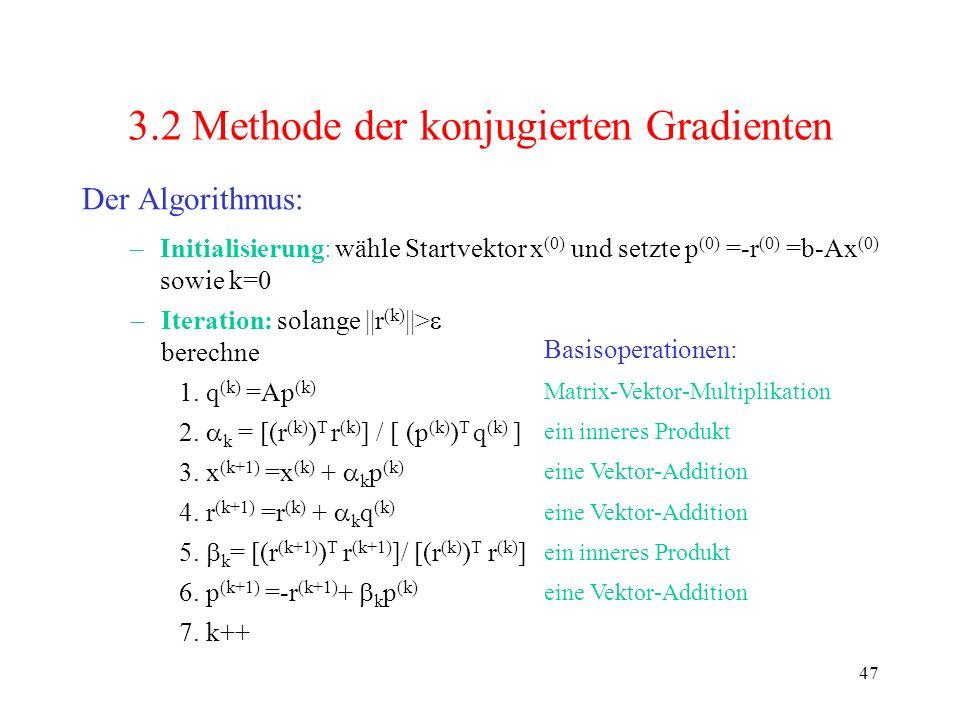 47 3.2 Methode der konjugierten Gradienten Der Algorithmus: –Initialisierung: wähle Startvektor x (0) und setzte p (0) =-r (0) =b-Ax (0) sowie k=0 –It