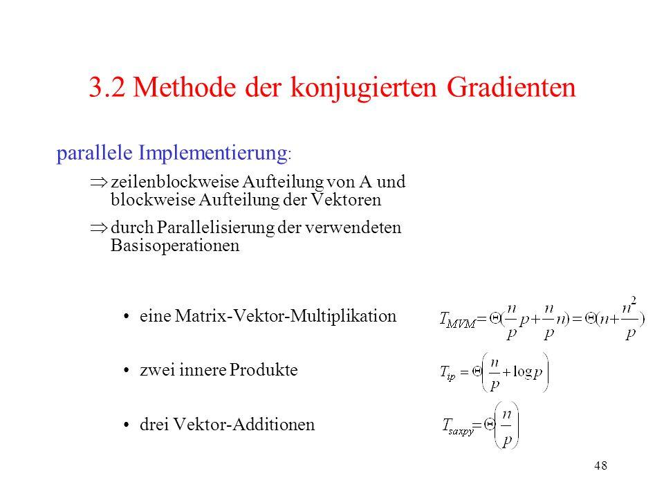 48 3.2 Methode der konjugierten Gradienten parallele Implementierung : zeilenblockweise Aufteilung von A und blockweise Aufteilung der Vektoren durch