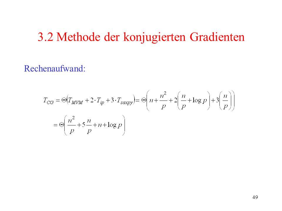 49 3.2 Methode der konjugierten Gradienten Rechenaufwand: