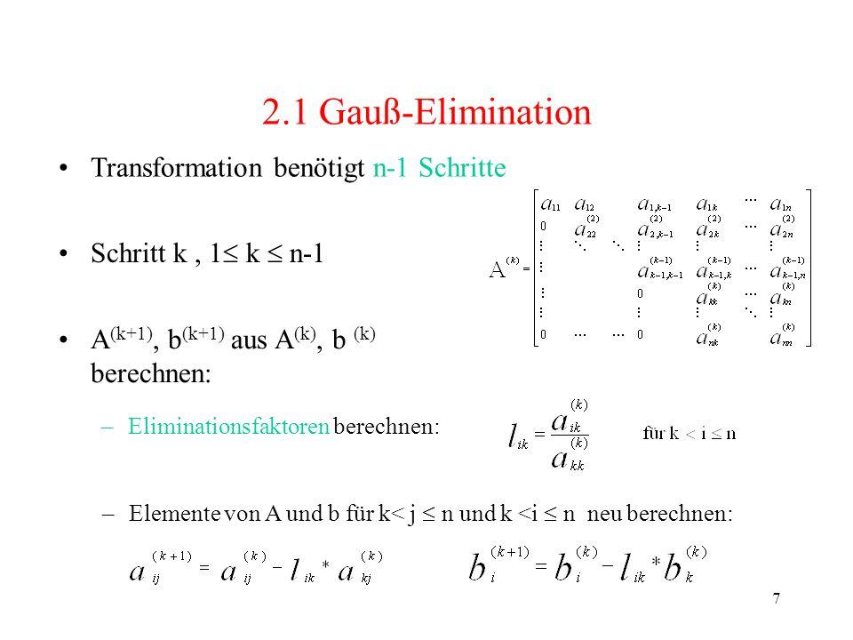 8 2.1 Gauß-Elimination Lösung durch Rückwärtseinsetzen, für k = n,n-1,...,1: sequentielle Implementierung Θ(n 3 ) (drei ineinander verschachtelte Schleifen)