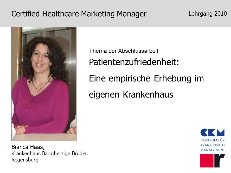 Certified Healthcare Marketing Manager Lehrgang 2011