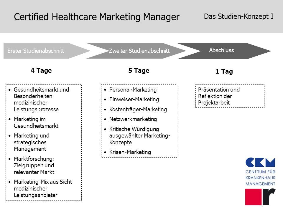 Certified Healthcare Marketing Manager Das Studien-Konzept I Zweiter Studienabschnitt Abschluss Erster Studienabschnitt 4 Tage5 Tage 1 Tag Gesundheits