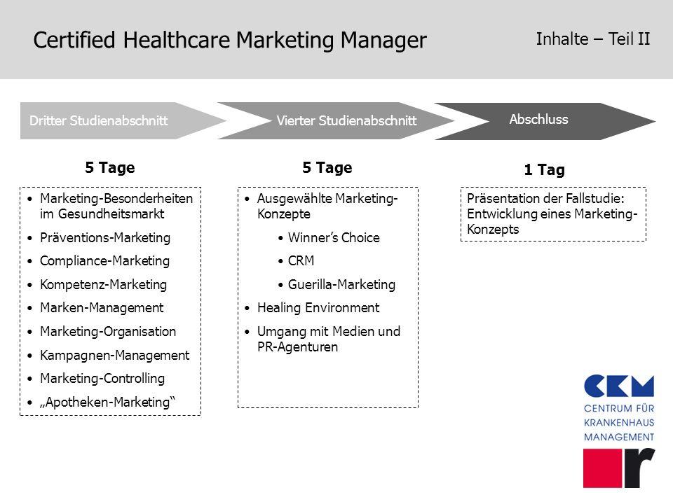 Certified Healthcare Marketing Manager Inhalte – Teil II Vierter Studienabschnitt Abschluss Dritter Studienabschnitt 5 Tage 1 Tag Marketing-Besonderhe