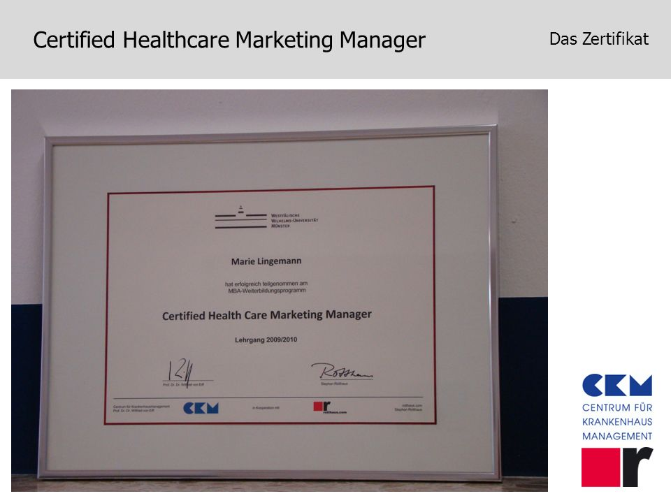 Certified Healthcare Marketing Manager Das Zertifikat
