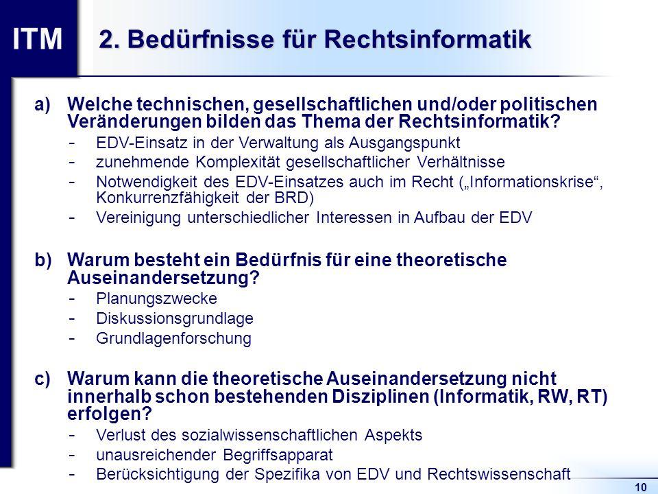 ITM 10 2. Bedürfnisse für Rechtsinformatik a)Welche technischen, gesellschaftlichen und/oder politischen Veränderungen bilden das Thema der Rechtsinfo