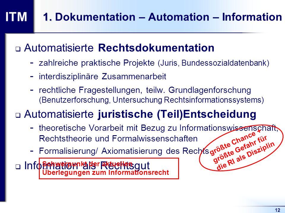 ITM 12 1. 1. Dokumentation – Automation – Information Automatisierte Rechtsdokumentation  zahlreiche praktische Projekte (Juris, Bundessozialdatenban