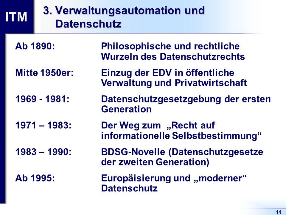 ITM 14 3. Verwaltungsautomation und Datenschutz Ab 1890: Philosophische und rechtliche Wurzeln des Datenschutzrechts Mitte 1950er: Einzug der EDV in ö