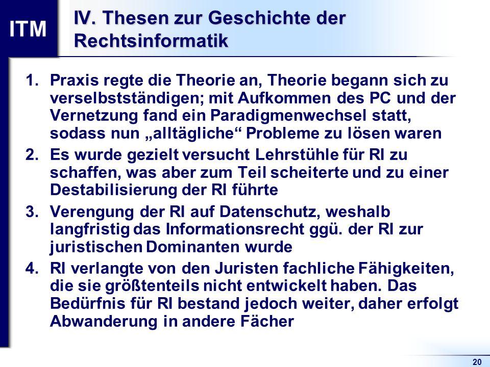 ITM 20 IV. Thesen zur Geschichte der Rechtsinformatik 1.Praxis regte die Theorie an, Theorie begann sich zu verselbstständigen; mit Aufkommen des PC u