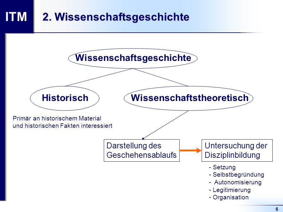 ITM 6 2. Wissenschaftsgeschichte Wissenschaftsgeschichte HistorischWissenschaftstheoretisch Darstellung des Geschehensablaufs Untersuchung der Diszipl