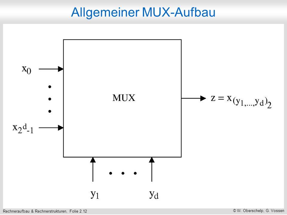 Rechneraufbau & Rechnerstrukturen, Folie 2.12 © W. Oberschelp, G. Vossen Allgemeiner MUX-Aufbau