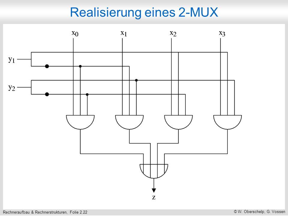 Rechneraufbau & Rechnerstrukturen, Folie 2.22 © W. Oberschelp, G. Vossen Realisierung eines 2-MUX
