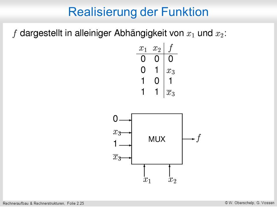 Rechneraufbau & Rechnerstrukturen, Folie 2.25 © W. Oberschelp, G. Vossen Realisierung der Funktion