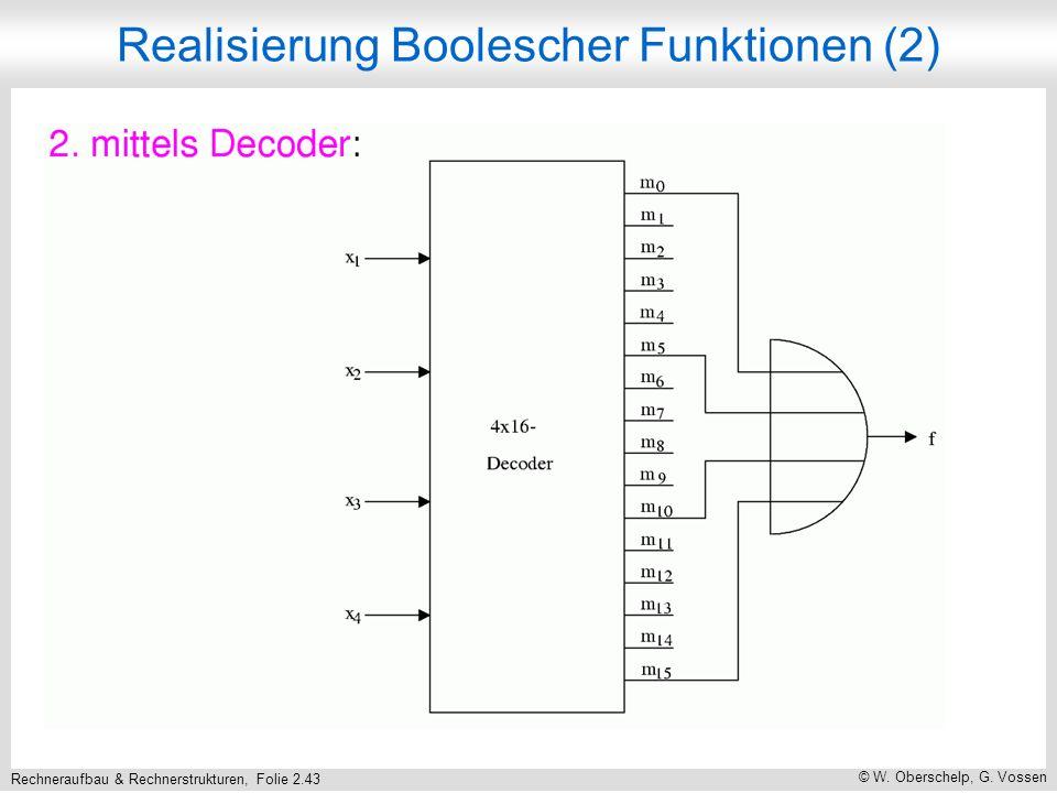 Rechneraufbau & Rechnerstrukturen, Folie 2.43 © W. Oberschelp, G. Vossen Realisierung Boolescher Funktionen (2)