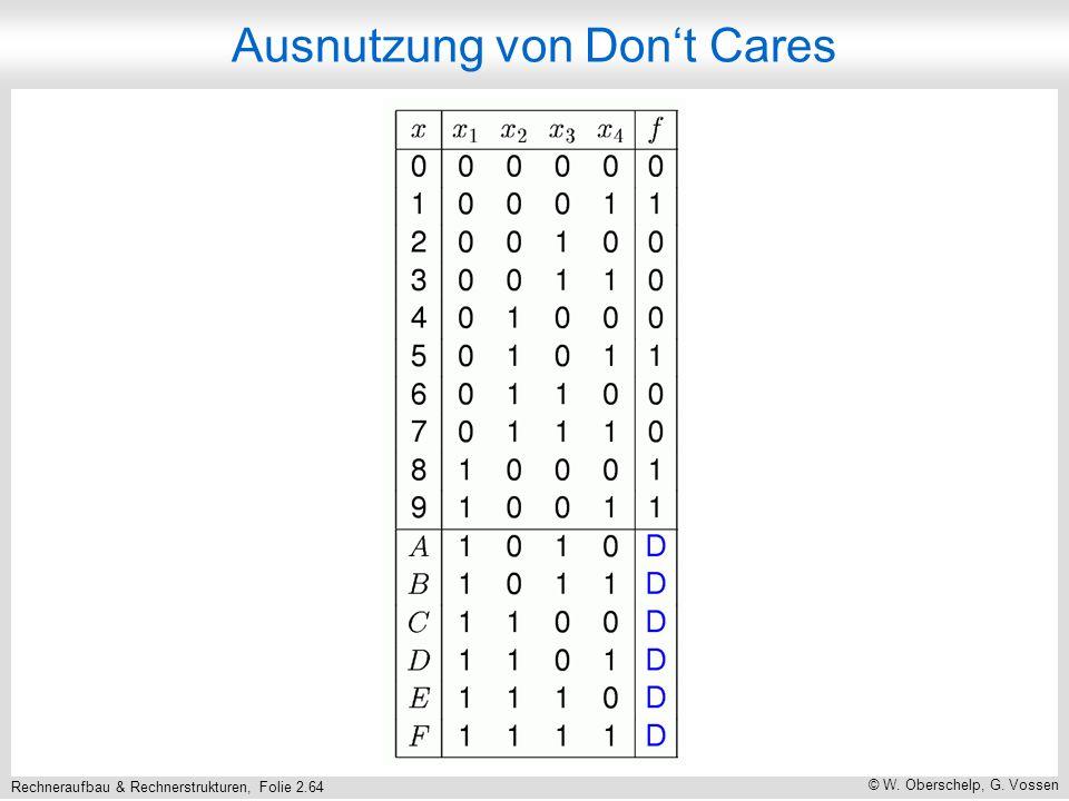 Rechneraufbau & Rechnerstrukturen, Folie 2.64 © W. Oberschelp, G. Vossen Ausnutzung von Dont Cares