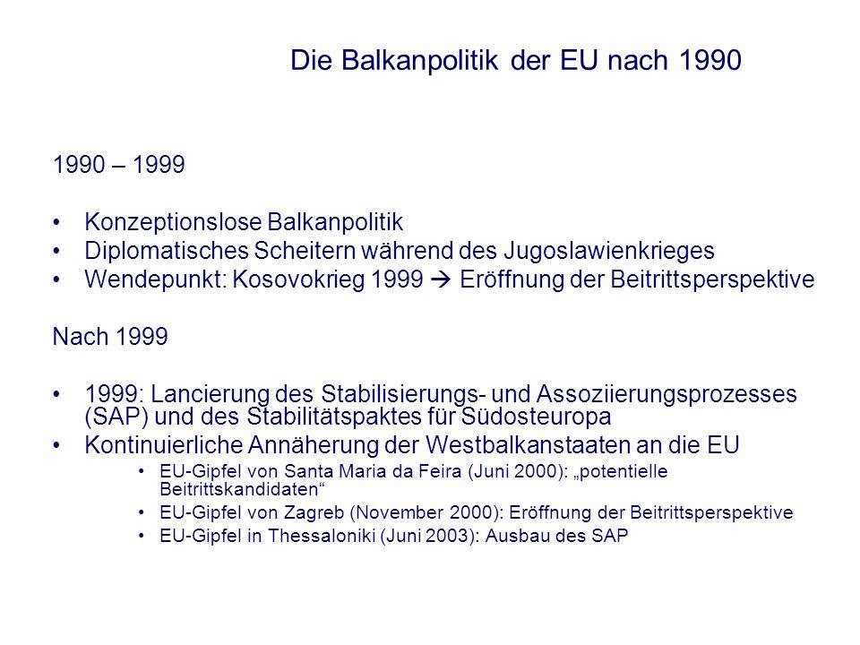 Die Balkanpolitik der EU nach 1990 1990 – 1999 Konzeptionslose Balkanpolitik Diplomatisches Scheitern während des Jugoslawienkrieges Wendepunkt: Kosov