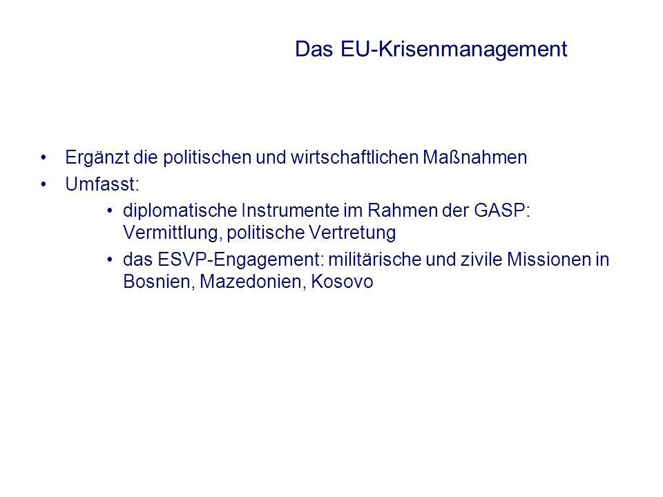 Das EU-Krisenmanagement Ergänzt die politischen und wirtschaftlichen Maßnahmen Umfasst: diplomatische Instrumente im Rahmen der GASP: Vermittlung, pol