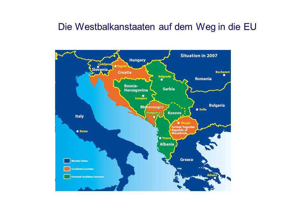 Der EU-Erweiterungsprozess Antrag auf Mitgliedschaft Albanien, Serbien Stellungnahme der Kommission Kandidatenstatus Mazedonien, Montenegro Eröffnung der Beitrittsverhandlungen Beitrittsverhandlungen Kroatien Unterzeichnung des Beitrittsvertrages Ratifikation des Beitrittsvertrages Beitritt