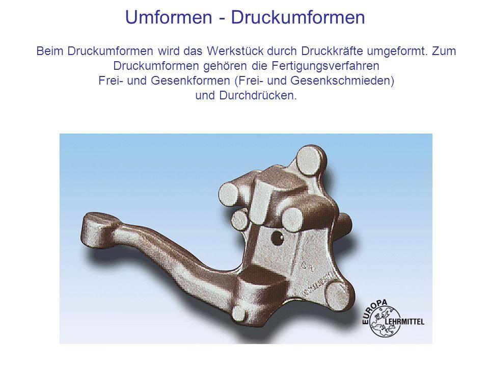Umformen - Druckumformen Beim Druckumformen wird das Werkstück durch Druckkräfte umgeformt. Zum Druckumformen gehören die Fertigungsverfahren Frei- un