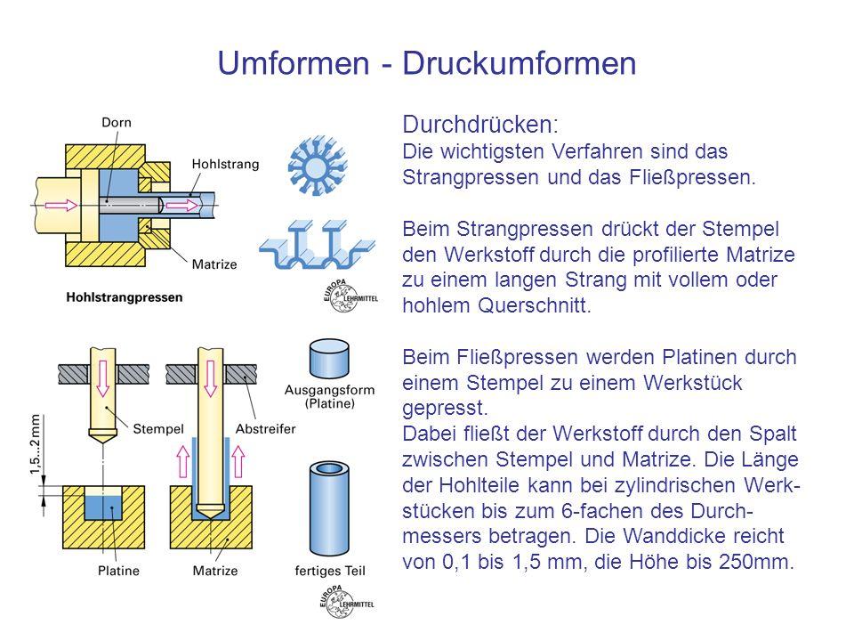 Umformen - Druckumformen Durchdrücken: Die wichtigsten Verfahren sind das Strangpressen und das Fließpressen. Beim Strangpressen drückt der Stempel de