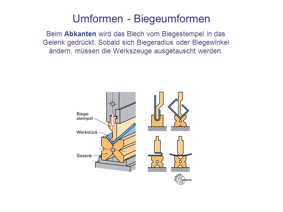 Umformen - Biegeumformen Beim Abkanten wird das Blech vom Biegestempel in das Gelenk gedrückt. Sobald sich Biegeradius oder Biegewinkel ändern, müssen