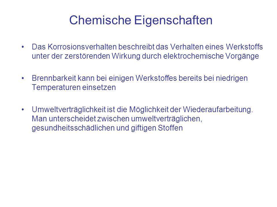 Chemische Eigenschaften Das Korrosionsverhalten beschreibt das Verhalten eines Werkstoffs unter der zerstörenden Wirkung durch elektrochemische Vorgän