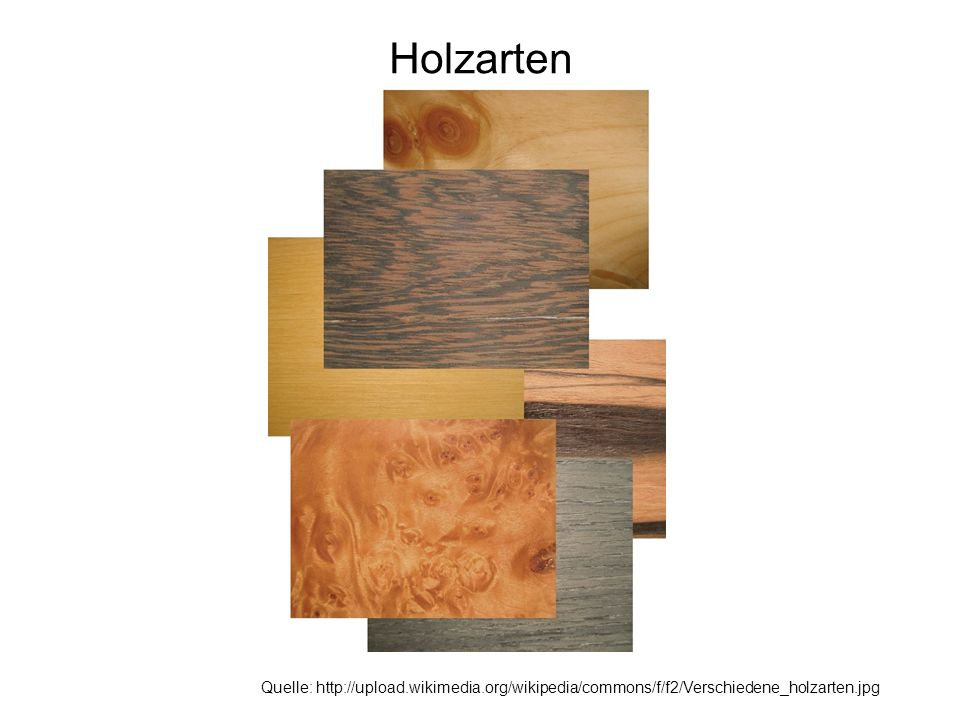 Holzarten Quelle: http://upload.wikimedia.org/wikipedia/commons/f/f2/Verschiedene_holzarten.jpg