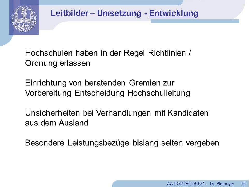 AG FORTBILDUNG - Dr. Blomeyer 10 Hochschulen haben in der Regel Richtlinien / Ordnung erlassen Einrichtung von beratenden Gremien zur Vorbereitung Ent