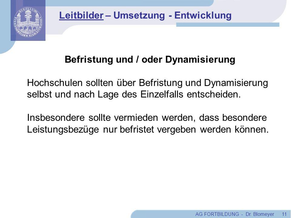 AG FORTBILDUNG - Dr. Blomeyer 11 Befristung und / oder Dynamisierung Hochschulen sollten über Befristung und Dynamisierung selbst und nach Lage des Ei