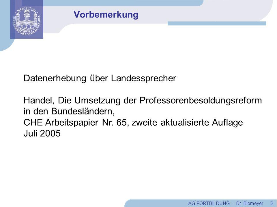 AG FORTBILDUNG - Dr. Blomeyer 2 Vorbemerkung Datenerhebung über Landessprecher Handel, Die Umsetzung der Professorenbesoldungsreform in den Bundesländ
