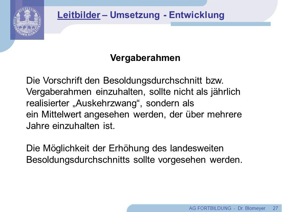 AG FORTBILDUNG - Dr. Blomeyer 27 Vergaberahmen Die Vorschrift den Besoldungsdurchschnitt bzw. Vergaberahmen einzuhalten, sollte nicht als jährlich rea